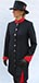 J 1 navy single breasted coat dress with red velvet mandarin collar, sleeve inset, kick pleats and  trmmed with gold.JPG