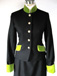 J 1 navy single breasted jacket, lime velvet trim, gold piping with gold diamante buttons.jpg
