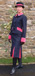 J 1 single breasted jacket with cerise velvet trim piped in silver. Shown with matching skirt.jpg