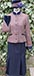 J 107 single breasted jacket with navy velvet trim Shown with navy skirt Brown tweed with royal blue and dusky pink overcheck.jpg