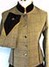 J 93 single breasted jacket with brown and old gold velvet trim Greeny brown tweed with gold, rust and yellow overcheck.jpg