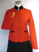Red single breasted jacket, navy velvet trim with gold piping.jpg