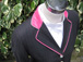 SJ 53 (Charcoal with Pink Pinstripe and Cerise Velvet trim).JPG